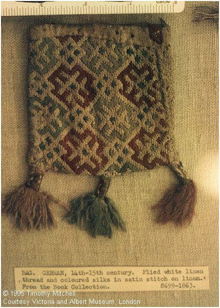 BAG. GERMAN, 14th-15th century. Plied white linen thread and coloured silks in satin stitch on linen. From the Bock Collection. #8699-1863. V&A.