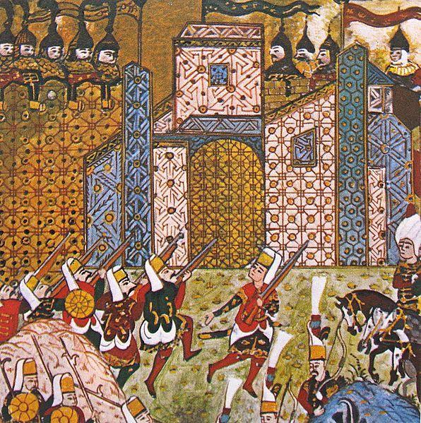 Sultan Suleiman During the Siege of Rhodes (1522 CE) (Detail) (Süleymanname -Matrakçı Nasuh, Ottoman Empire) | Cemaat Janissary (Musket), Ztrhli Nefer (Bill), Solak (Bow)