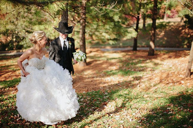 Lazaro gown in a #cowboy #wedding
