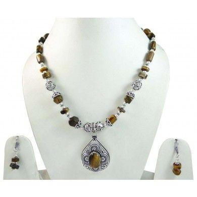 Tribal Silver Tone Tiger Eye Stone Pendant Necklace Set Fashion Jewelry Gift