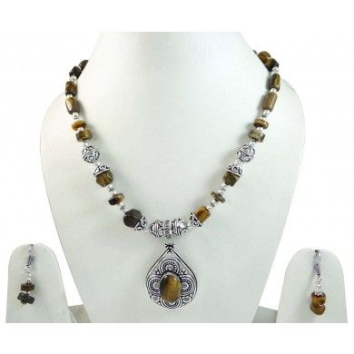 Tribal Silver Tone Tiger Eye Stone Pendant Necklace Set Fashion Jewelry Gift