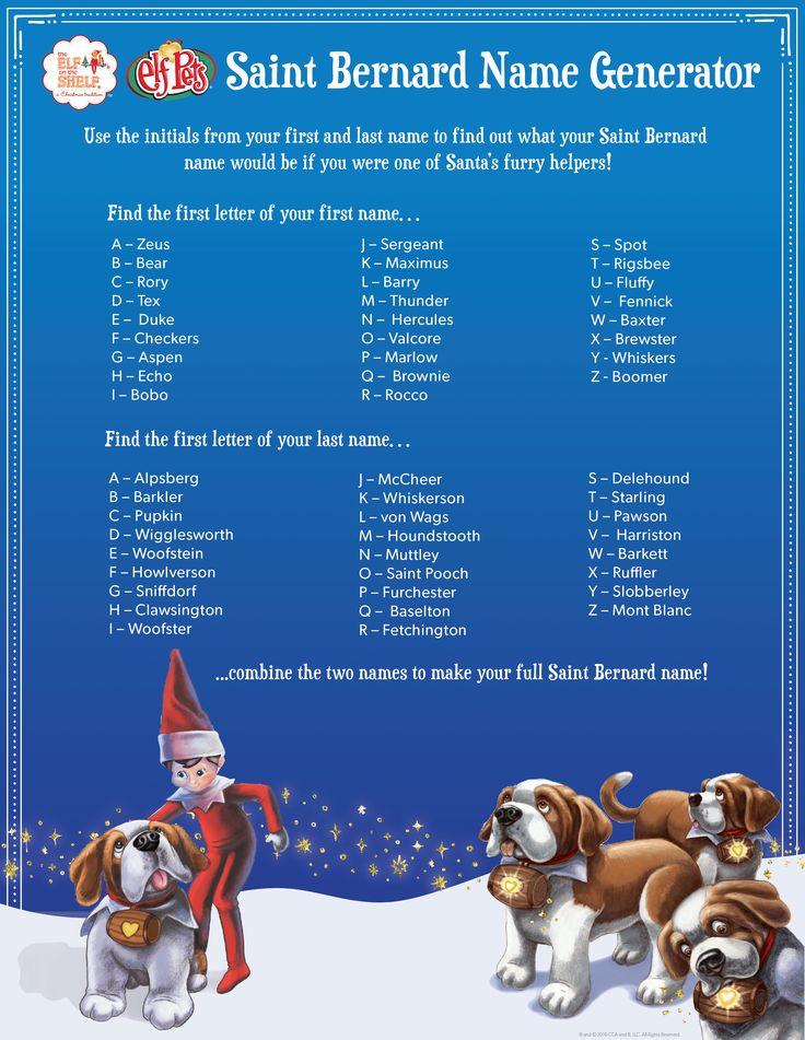 Find Your Saint Bernard Name In 2019 Elf Pets Elf On