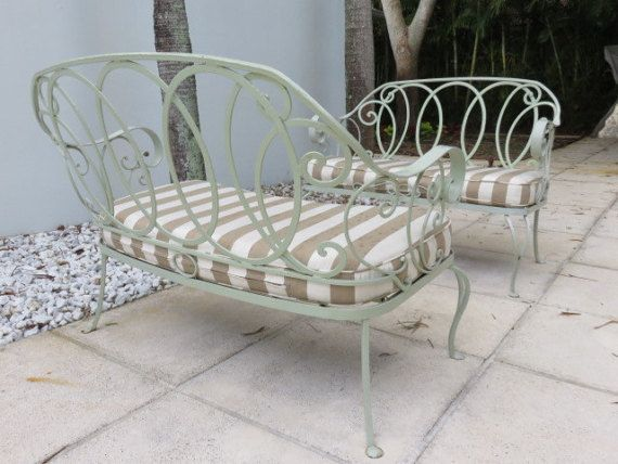 Pair Of Outdoor Wrought Iron Mid-Century Modern Salterini Love Seats, Available At FLORIDA MODERN West Palm Beach.