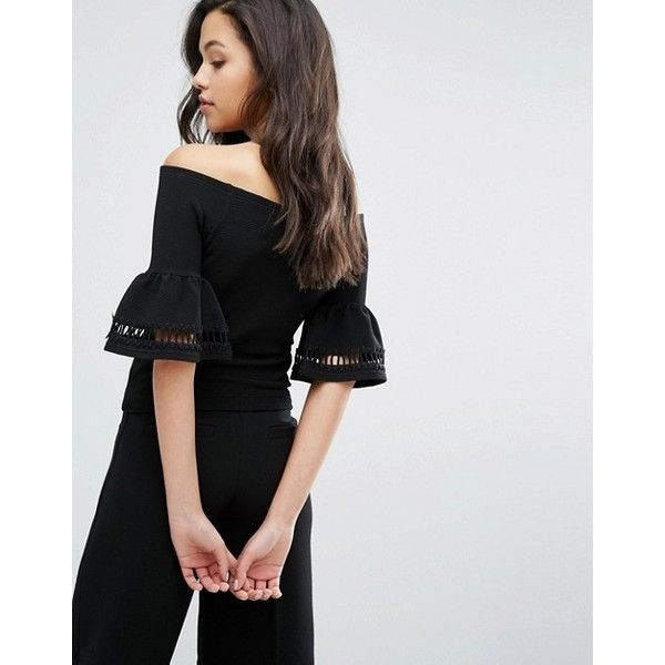Miss Selfirdge Frill Sleeve Bardot Top (£39) ❤ liked on Polyvore featuring tops, off the shoulder tops, miss selfridge tops, off shoulder tops, flutter sleeve top and miss selfridge