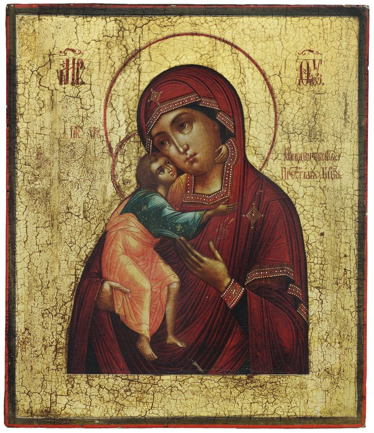 "Feodorovskaya Mother of God icon, Russian, c. 1850, egg tempera on wood, 12-3/4"" x 10-5/8""; Museum of Russian Icons, Clinton, MA"