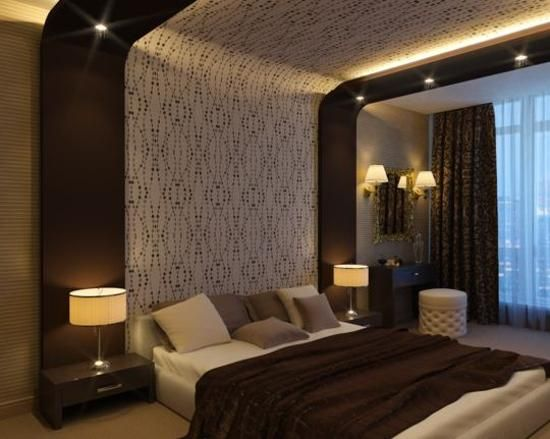 22 ideas to update ceiling designs with modern wallpaper for Bedroom designs with wallpaper