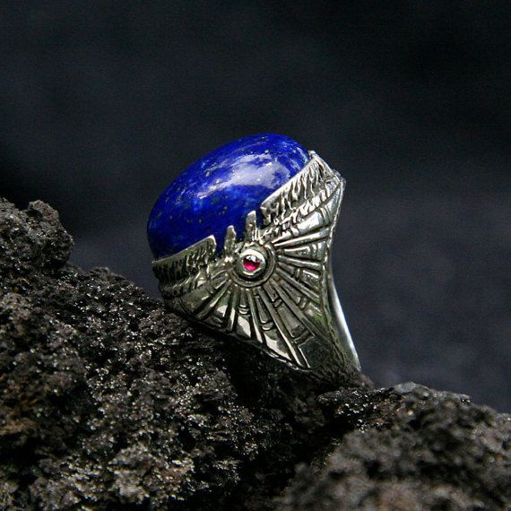 """Sterling Silver Lapis Lazuli Ring """"Ra"""" inlaid with 2 Ruby MADE TO ORDER, mens ring, mens gemstone ring, egypt ring"""