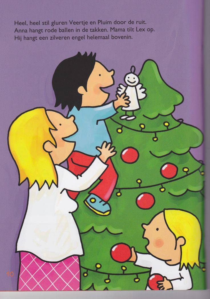 Prent kerstboom versieren