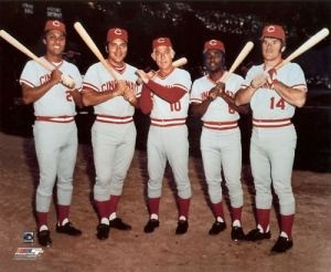 "From left to right -the history makers - Tony Perez, Johnny Bench, Sparky Anderson, Joe Morgan, and Pete Rose Cincinnati Reds ""Big Red Machine"""