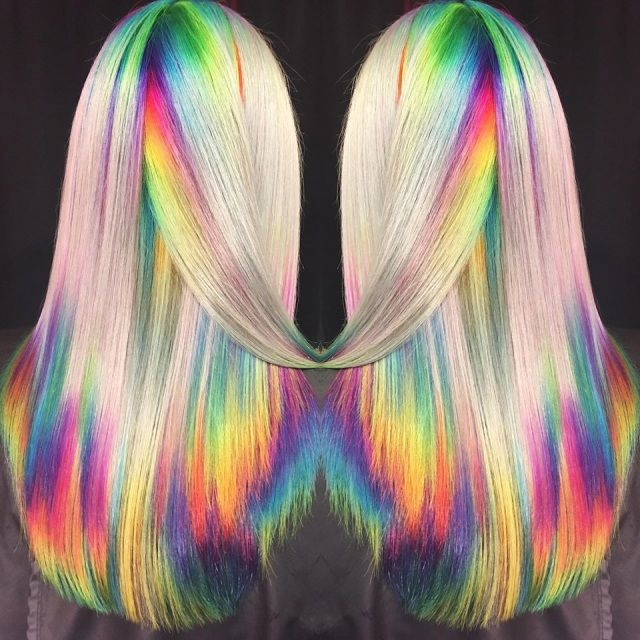 Holographic Shineline Haircolor Tutorial   Holographic hair, Rainbow hair  color, Underlights hair