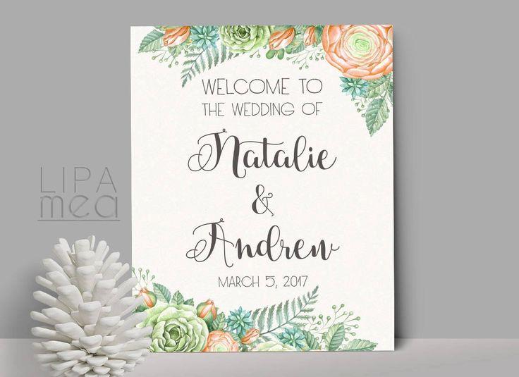 Welcome Sign Wedding, Printable Wedding Welcome Sign, Shower Welcome Sign, Printable Welcome Sign, Reception Sign. Welcome Wedding Sign - pinned by pin4etsy.com