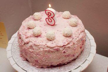 Simple girly sponge birthday cake.