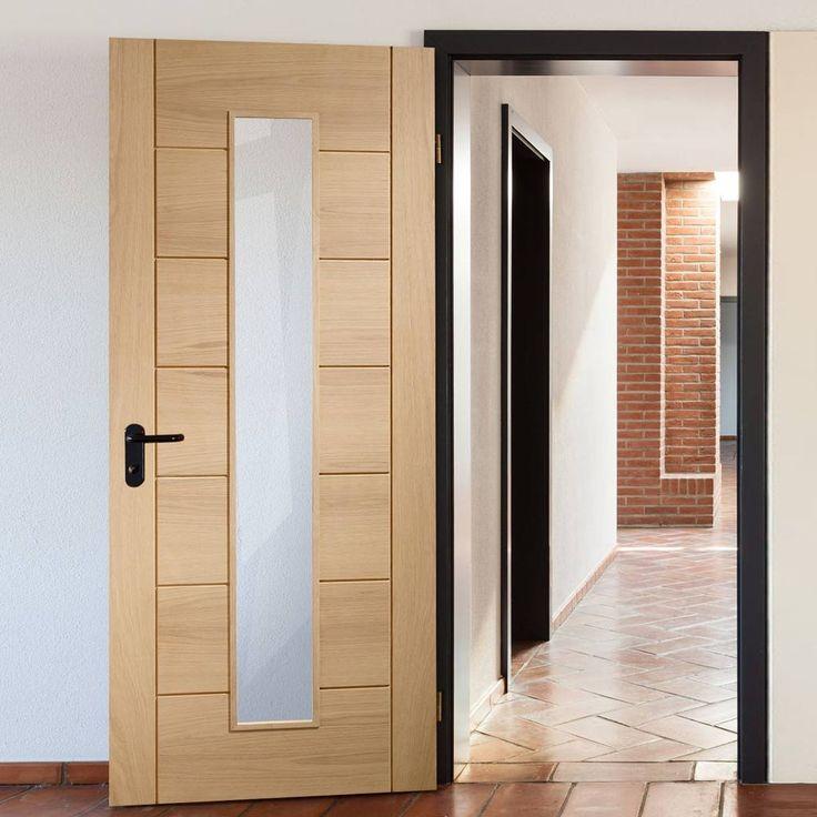 Bespoke Palermo Oak Fire Door with 1 Pane of Clear Fire Glass - 1/2 Hour Fire Rated.    #oakdoor #glazeddoor #oak  #bespokedoor #moderninteriordoor #newdoor #dooridea #interiordesitgn #door #doors#bespokefiredoor