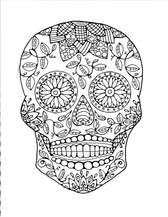 Sugar Skull Coloring Page to Print and Color, Adult Coloring Page. Instant Digital Download, Digital Digi Stamps, Scrap Booking printable.