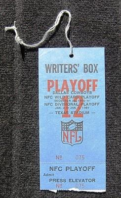 Dallas Cowboys Playoffs Press Pass vs La Rams 12 28 80 Texas Stadium