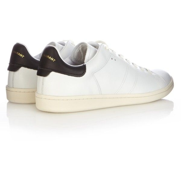 Isabel Marant Bart leather trainers ($380) ❤ liked on Polyvore featuring shoes, sneakers, leather trainers, leather footwear, genuine leather shoes, leather shoes and isabel marant