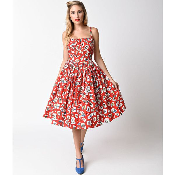 Bernie Dexter 1950s Style Red On The Road Print Cotton Paris Swing... ($100) ❤ liked on Polyvore featuring dresses, red, cotton swing dress, swing dress, ruching dress, retro swing dress and red retro dress