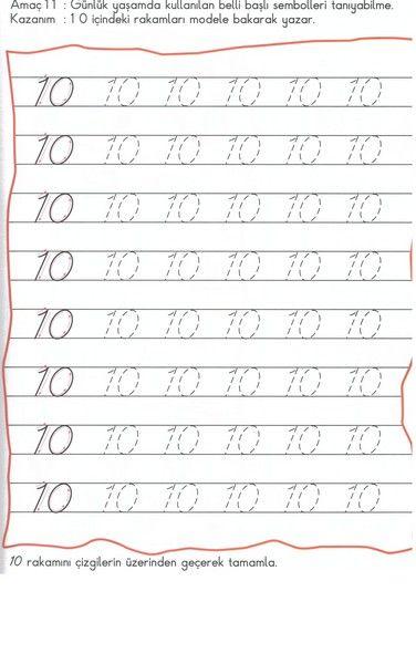 Number 10 Tracing Worksheets For Kindergarten