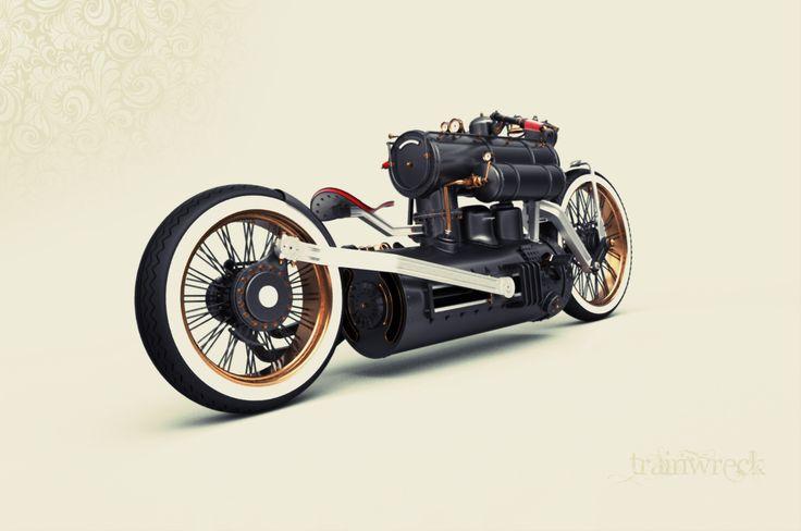 Крушение Поезд, паровой двигатель Концепция Мотоцикл - Autoevolution