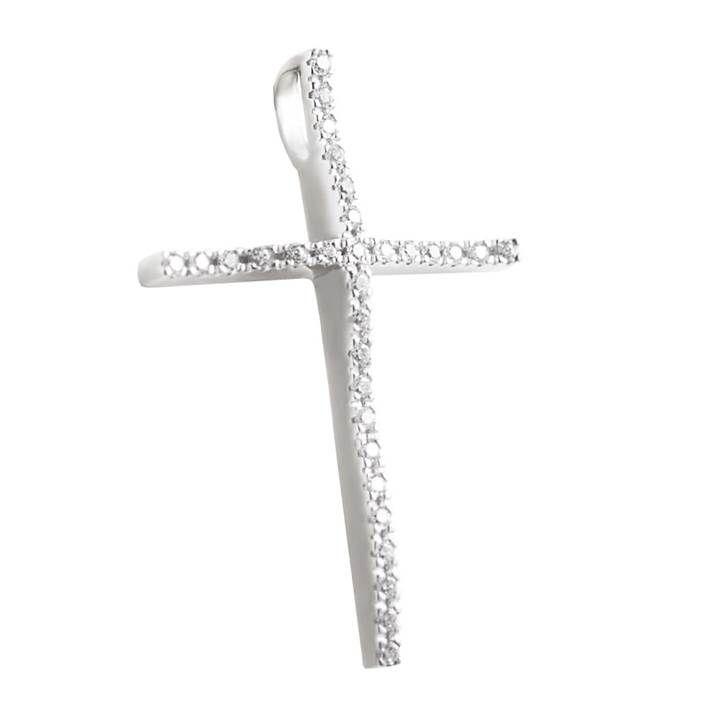 ΣΤ659P- Λευκόχρυσος μοντέρνος σταυρός με ζιργκόν