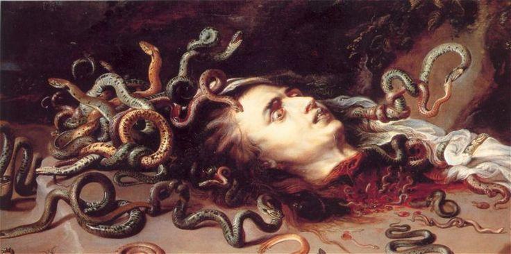 """페테르 파울 루벤스, """"메두사의 머리"""", 1618년경, 캔버스에 오일, 빈 미술사 박물관.    그리스 신화에 나오는 메두사를 테마로 그린 그림이다. 원래 메두사는 머리카락이 아주 아름다웠지만 아테나의 질투를 사는 바람에 아테나가 메두사의 머리를 뱀으로 만들어버렸다. 이후 페르세우스에 의해 목이 잘리는데, 잘린 메두사의 목을 그린 그림이다.    신화는 고대부터 꾸준히 이용되어 온 좋은 소재이다. 그 중 메두사는 추한 여자(여성형 존재)로 손색이 없는 인물이다. 뱀들로 가득찬 머리와 시선을 마주치는 사람을 돌로 만들어 버리는 눈이라는 특징은 그 자체만으로도 충분히 추하다고 할 수 있다."""