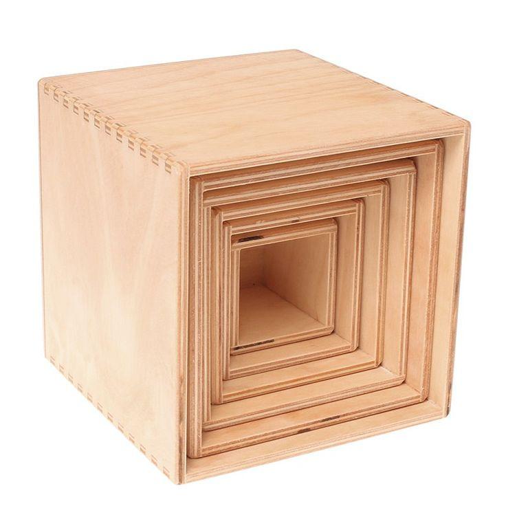 Set 5 cubos grandes apilables de madera - Grimm's