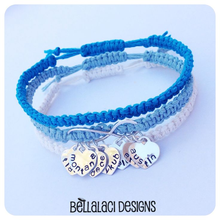 Sterling Silver Infinity Stack with Handstamped Hearts ~ Blue Ombré Hemp #bellalaci #bellalacidesigns #handstamped #jewellery