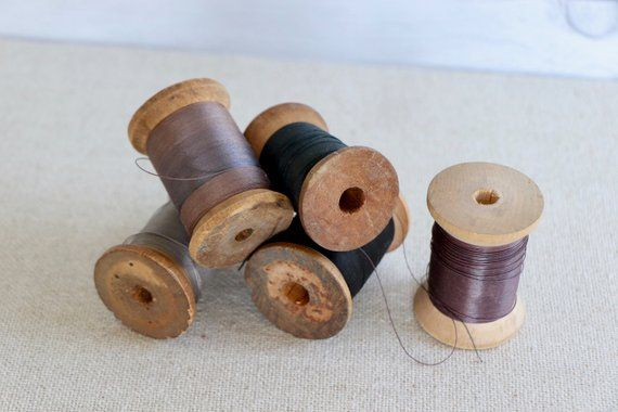 Lots Of 5 Antique Wooden Thread//Yarn Spools