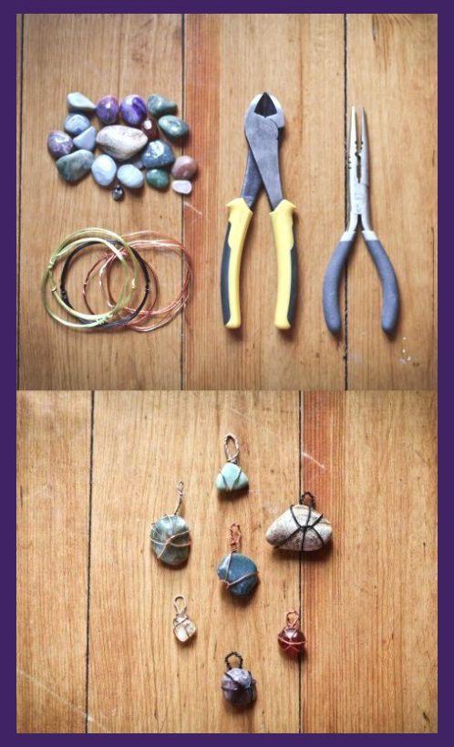 Jewelry Making Crafts | DIY Steinanhänger - Kunsthandwerk mit Steinen #kunsthandwerk #steinanhanger #s..., #DIY #di... - Stylekleidung.com | Jewelry Crafts Bracelets | Jewelry Making Crafts