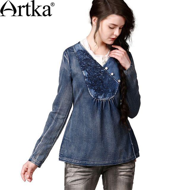 Artka  ретро женская летняя одежда  v-образным вырезом с длинным рукавом cиняя джинсовая хлопоковая приталенная высококачественная мягкая блузка с вышиванием SN13549Q
