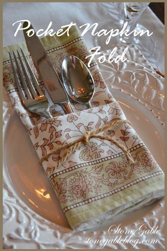 StoneGable: POCKET NAPKIN FOLD TUTORIAL