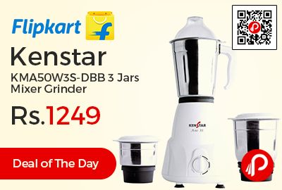 Flipkart #DealofTheDay is offering 58% off on Kenstar KMA50W3S-DBB 3 Jars Mixer Grinder at Rs.1249 Only. Dry Grinding, Chutney Grinding, Translucent Smoke Gray Color Dome for Liquid Jar, Vacuum Foot, 0.8 L Dry Grinding, 1 year Warranty.  http://www.paisebachaoindia.com/kenstar-kma50w3s-dbb-3-jars-mixer-grinder-at-rs-1249-only-flipkart/
