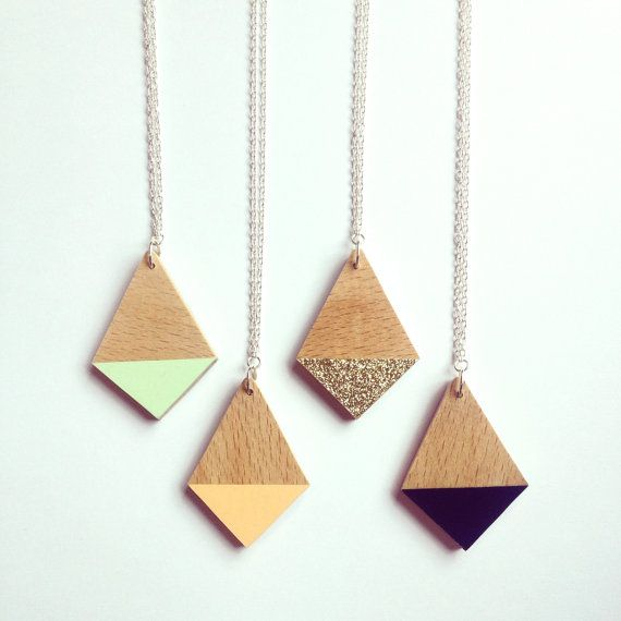 Dipped Wooden Diamond Necklace - Available in black, peach, mint or gold from Lucie Ellen