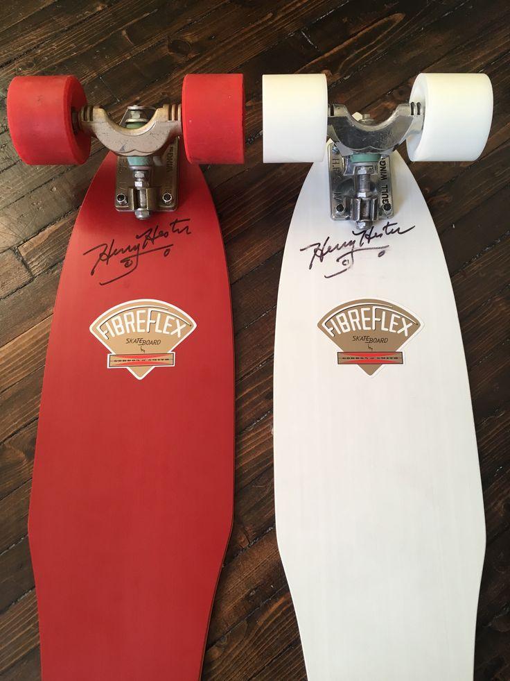 (Red skateboard) Signed G&S Fibreflex Henry Hester slalom deck, gold Gull Wing HPG Trucks (70s), rare first-generation red Kryptonics wheels (70s); (White skateboard): Signed G&S Fibreflex Henry Hester slalom deck; chrome-polished Gull Wing HPG trucks (70s); Road Rider 6 wheels (modern).