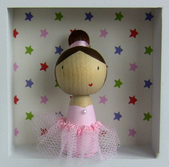 Personalised Ballerina Birthday Cake Topper - hand painted wooden doll on Etsy, $18.96 CAD