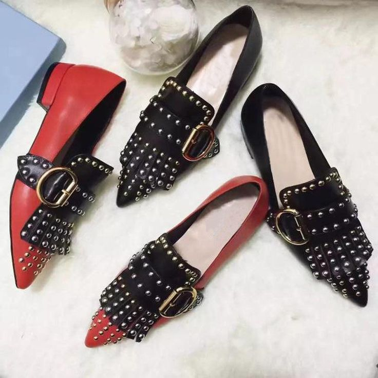 Hot Punk Rivets Stud Pointy Toe Womens Buckle Shoes Lofers Casual Ladies Pumps