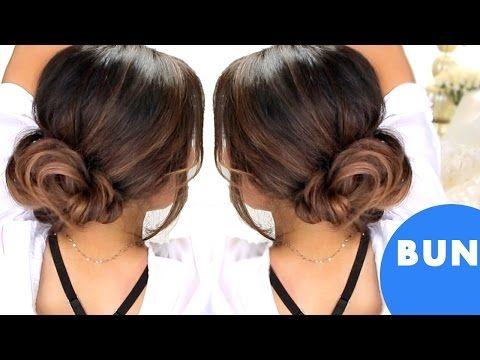 Fácil elegante penteado do bolo - em Inglês - YouTube