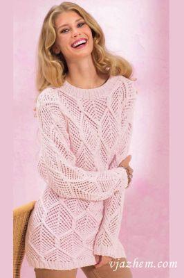 Удлиненный ажурный пуловер