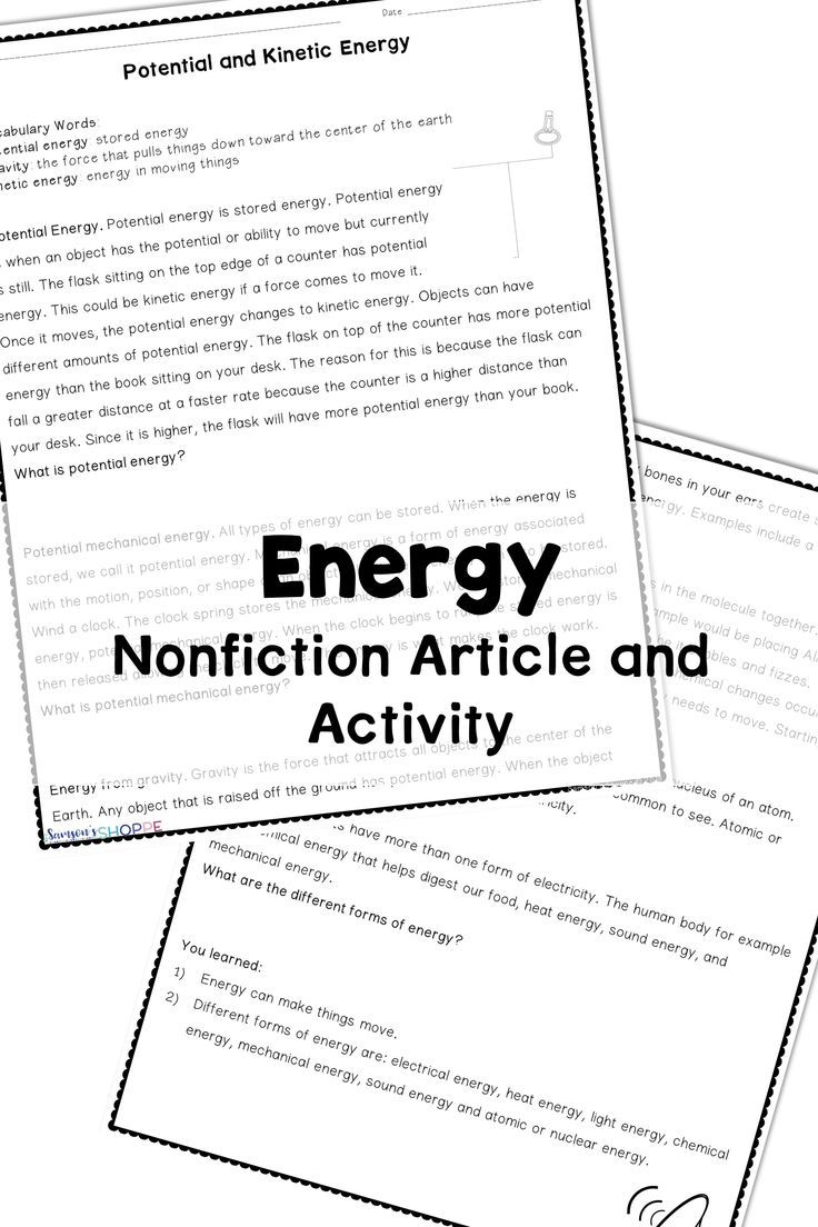 Energy Introduce Or Review Potential Kinetic And Forms Of Energy With This Vocabulary And Nonfiction Tex Nonfiction Articles Kinetic Energy Nonfiction Texts
