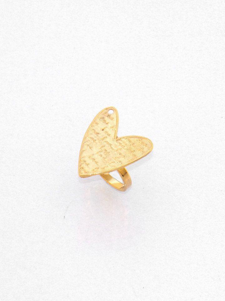 Gold Heart Love Ring - Love Ring - Promise Ring - Sweetheart Ring - Valentine Ring - Best Gift for Girlfriend - Love Poesy Ring - Cute Ring by profoundgarden on Etsy