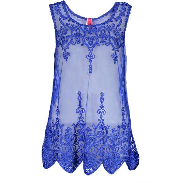 Universal Fashion Royal Blue Sheer Lace Tank ($13) ❤ liked on Polyvore featuring tops, sheer tank, royal blue tank top, sheer lace tank top, long tops and see through tank tops