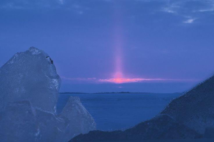 #sunset #blue moment, #pillar of the sun, #scene by Leena Holmström