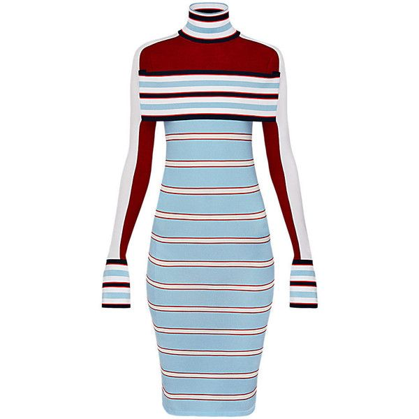 Striped Turtle Neck Knit Dress With Band (2470 PAB) ❤ liked on Polyvore featuring dresses, stripe dresses, striped dress, high-neck dresses, blue turtleneck dress and blue high neck dress