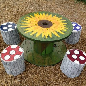 """Kids Table and """"Toadstools"""" (resized, stained, hand painted)"""
