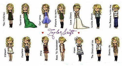 taylor swift...music video outfits....cartoon edition