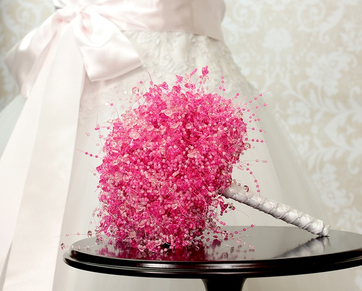 Beaded Pink Bridal Bouquet by Bridal Bouquets by Ky