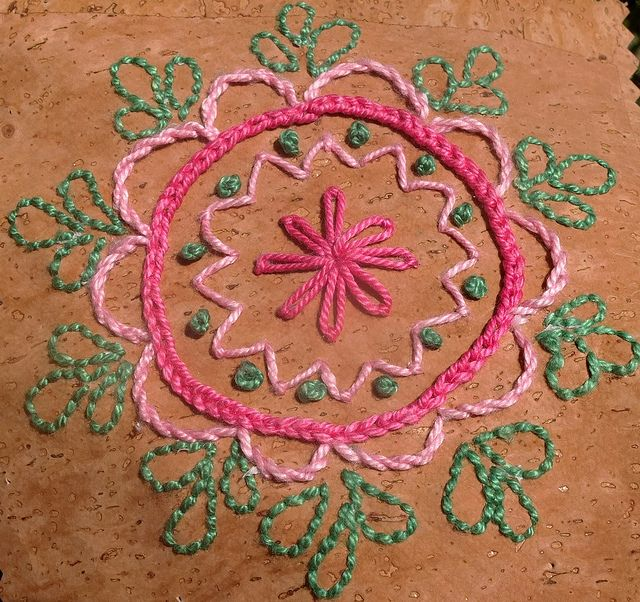 feeling stitchy: Embroidery on Cork leather - Japoneira free pattern by Gabi