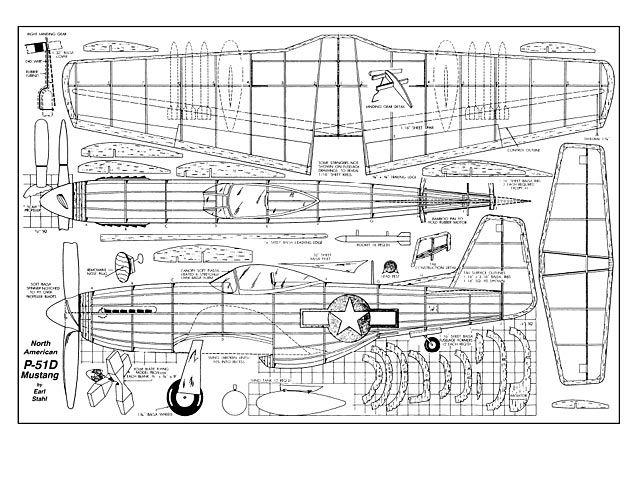 North American P-51D Mustang - plan thumbnail | Balsa wood model airplane plans | Wood plane, Rc ...