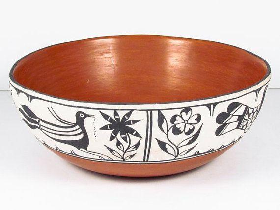 Poterie, poterie amérindienne, Saint-Domingue bol à pâte céramique Polychrome, Ca 1950, signée avec un grand A fin, #752