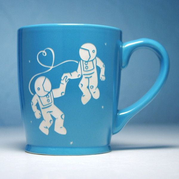 Check out this sky blue astronauts in love coffee mug by Bread and Badger